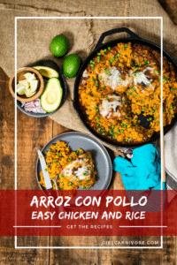 Easy one skillet arroz con pollo recipe on girlcarnivore.com