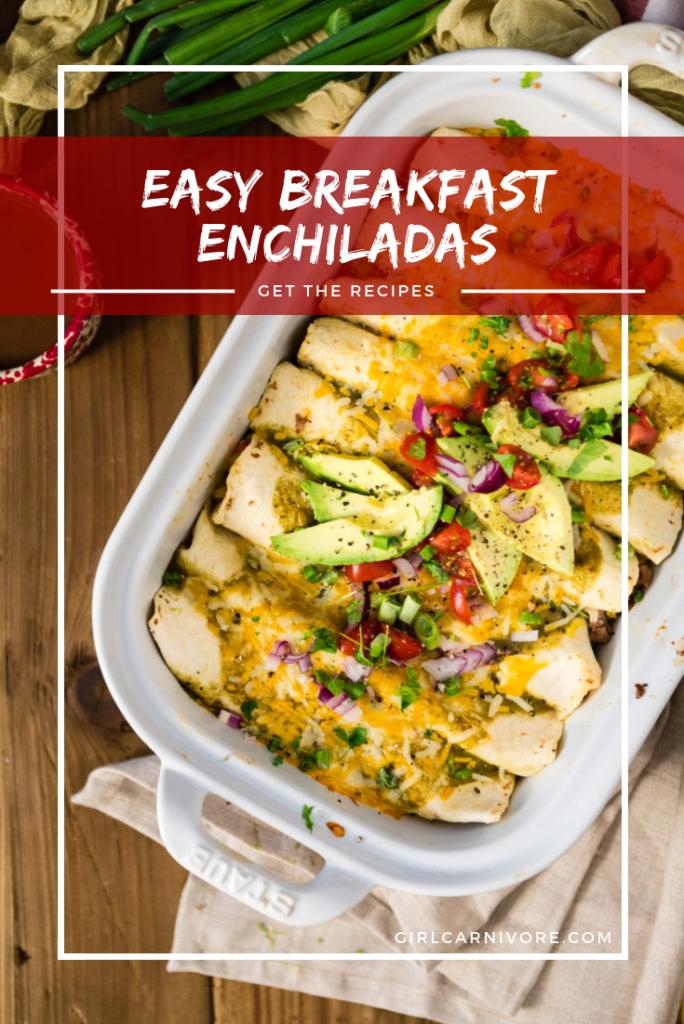 Easy Breakfast Enchiladas with Salsa Verde Recipe on GirlCarnivore.com