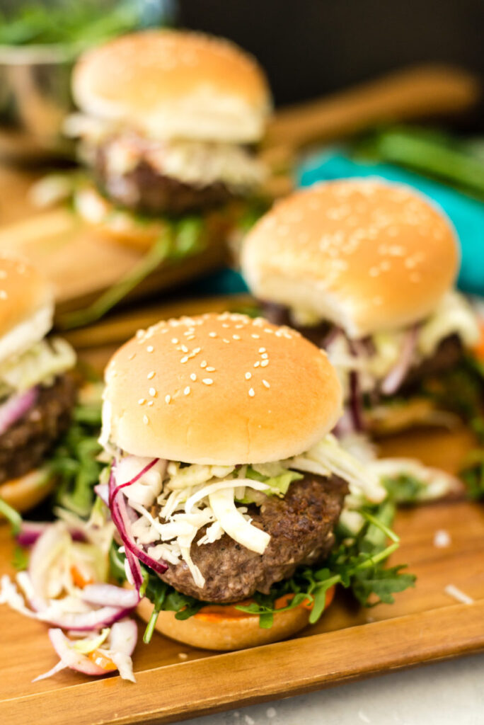 Short Rib Burgers with Lemongrass and Fennel Slaw