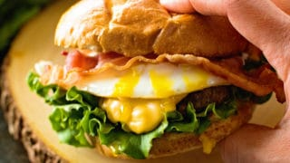 This over the top Cheesy Bacon Burger with Fried Egg!
