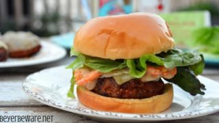 Cajun Pork Burgers with Shrimp and Spicy Aioli