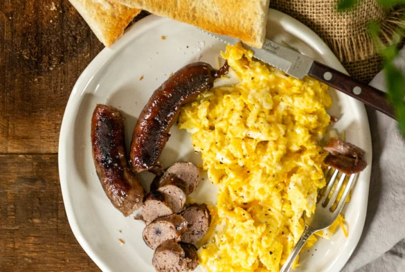 Homemade breakfast sausage recipe with blueberries, cheddar and maple syrup