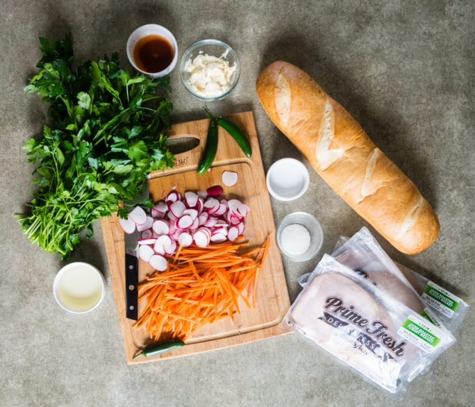 quick and easy banh mi with fast pickled veggies like radishes and carrots