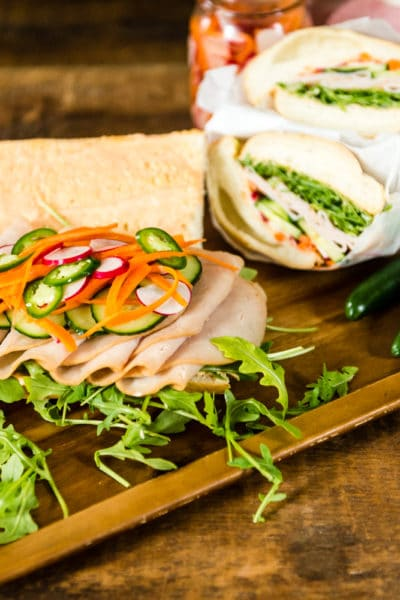 quick banh mi recipe with pickled veggies