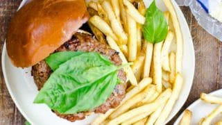 BBQ Brie Burger with Grilled Apples and Basil