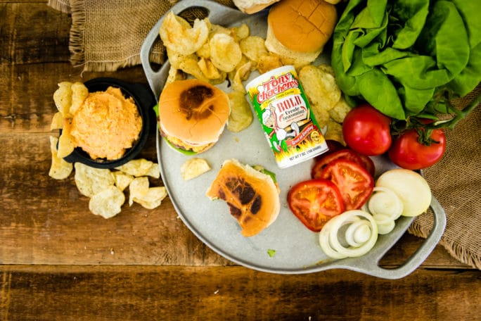 Pimento Cheese Burgers spiced with Tony Chachere's BOLD blend!