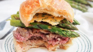 Asparagus parmesan burger with parmesan crisps
