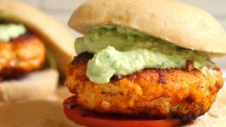 Blackened Salmon Burgers with Avocado Crema