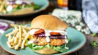 Chicken Burgers Stuffed with Blue Cheese & Buffalo Sauce