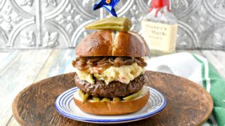 Kentucky Burger with Bourbon Onions and Pimento Beer Cheese