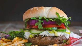 Mediterranean Lamb Burger with Feta and Garlic Dill Mayonnaise