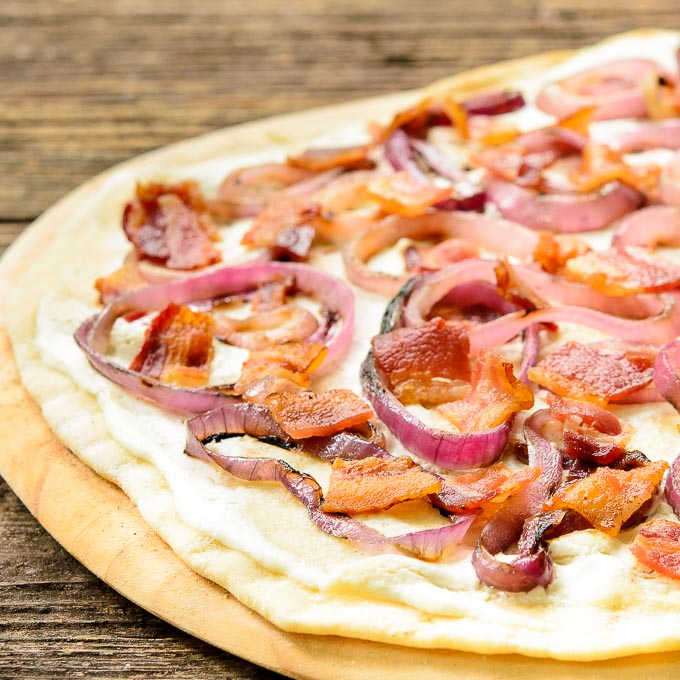 Grilled Bacon Onion Cheese Flatbread (Flammkuchen) for #BreadBakers