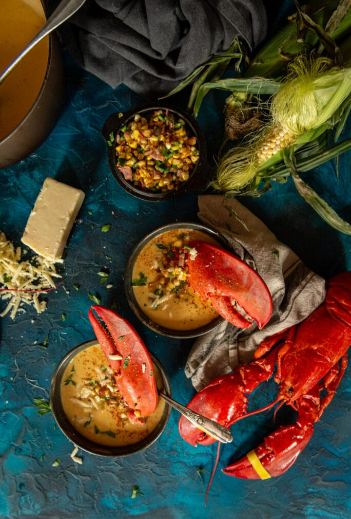 Crazy good and super easy to make - summer sweet corn and lobster bisque recipe with fresh Maine lobster and local corn