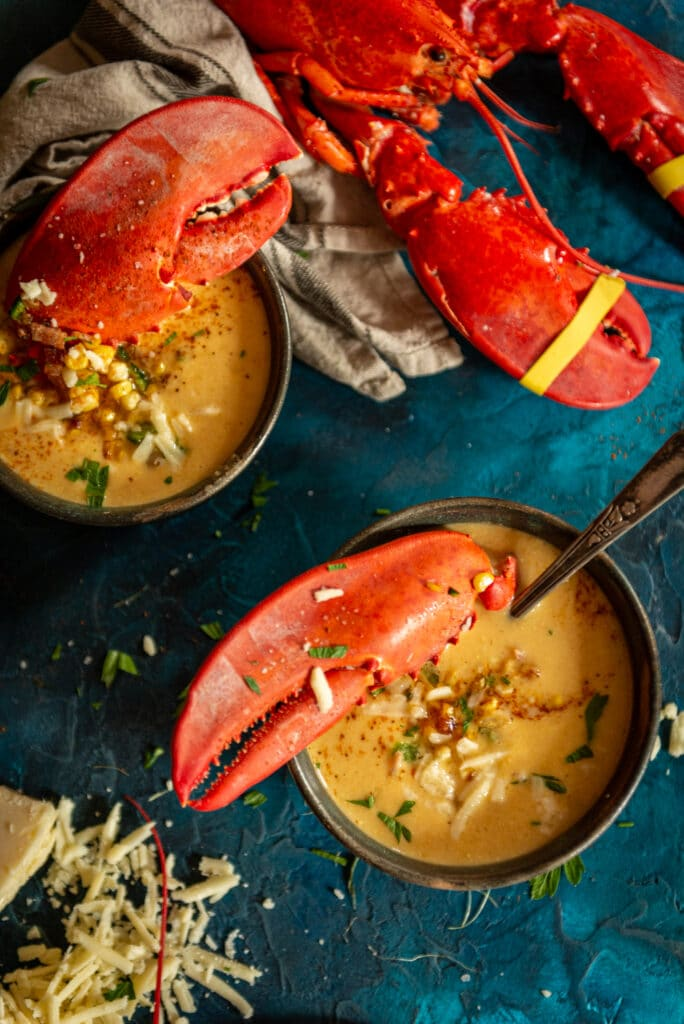 Creamy summer sweet corn and Maine lobster bisque recipe