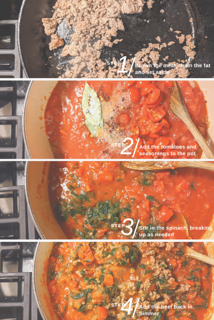 image of 4 basic steps for cooking meat suace from browning the meat to it all simmering in the pot with spinach