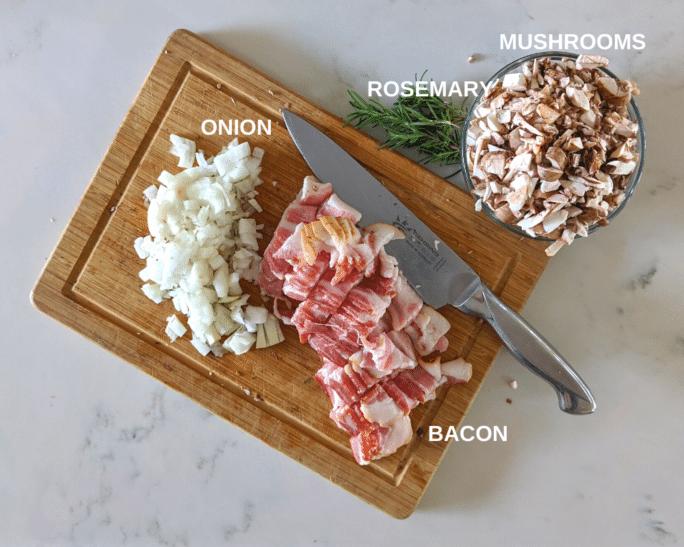 Ingredients for mushroom bacon stuffing