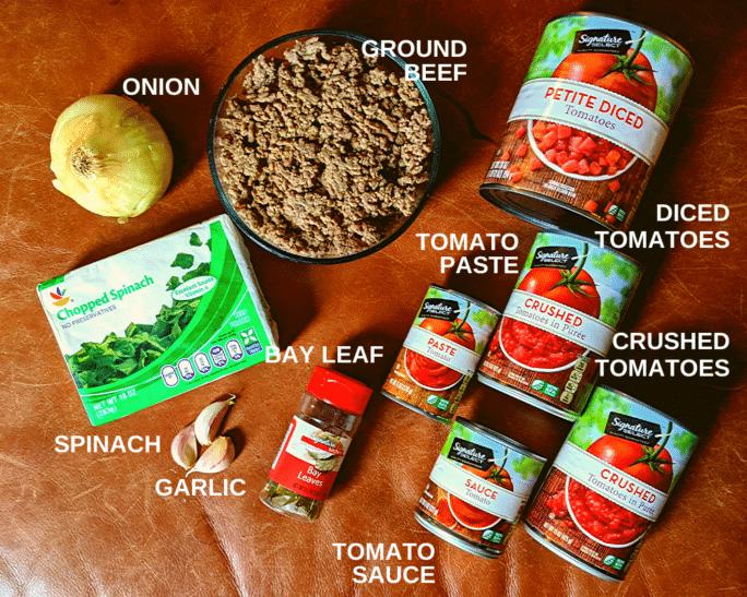 Basic inexpensive sauce ingredients arranged