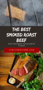 smoked roast beef shown in the smokers and then finished and sloced