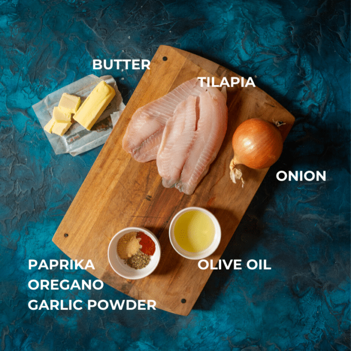 Ingredients for grilled tilapia with paprika and onions