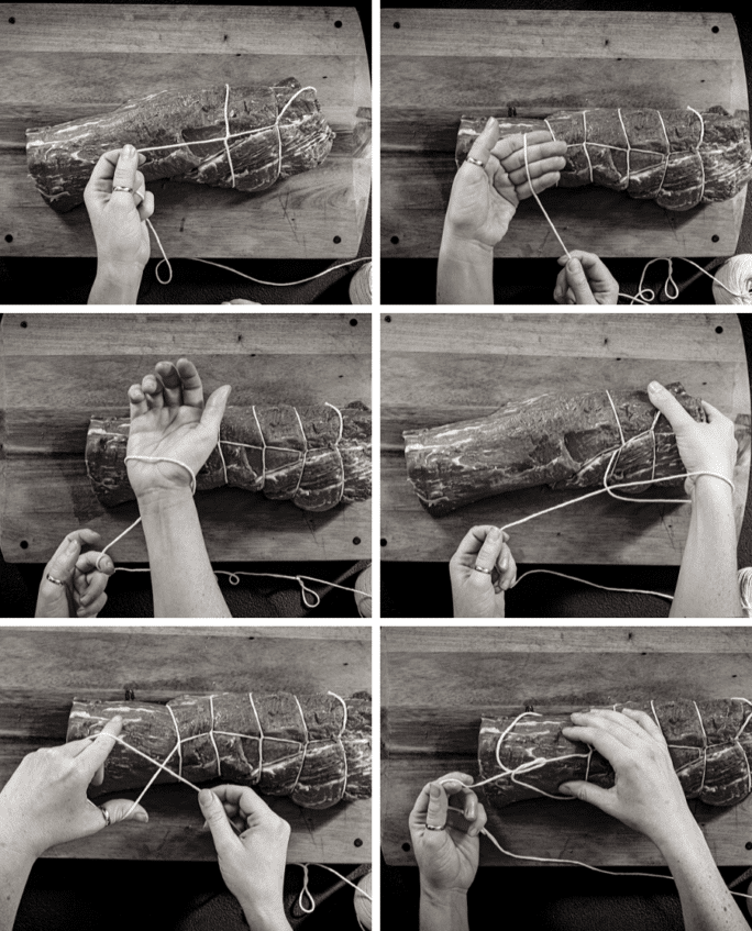 Step by step images for how to make a butchers tie over a roast