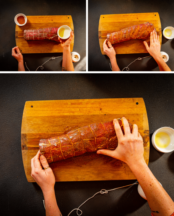 Step by step photos for rubbing a tenderloin with oil and then evenly with Creole Spices