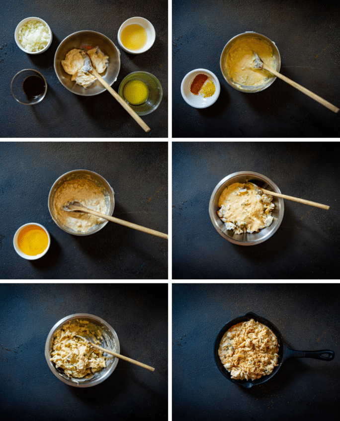 step by step images for mixing ingredients for crab imperial