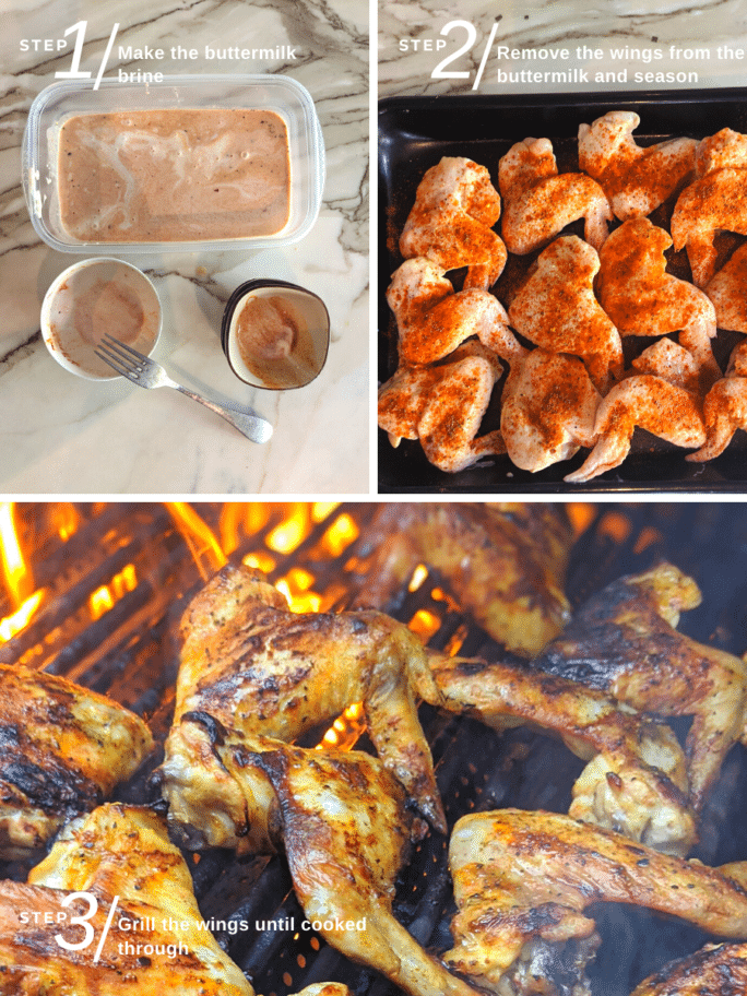 buttermilk brined chicken wings step by step collage - with brine, spice rub and grilling
