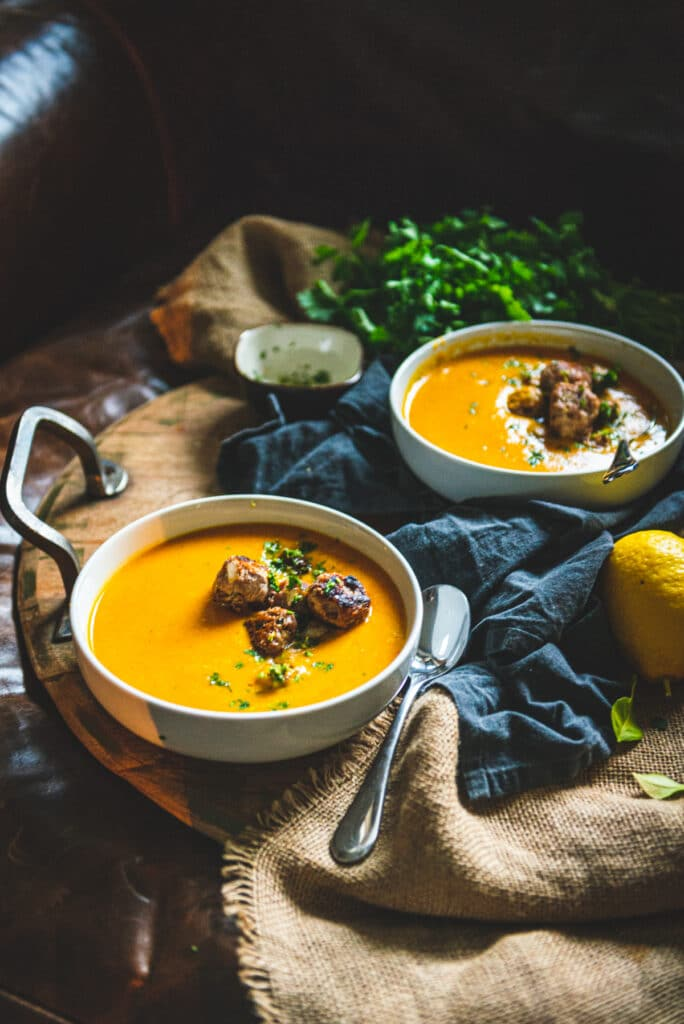 I could eat 99 bowls of this velvety carrot soup with homemade turkey meatballs.