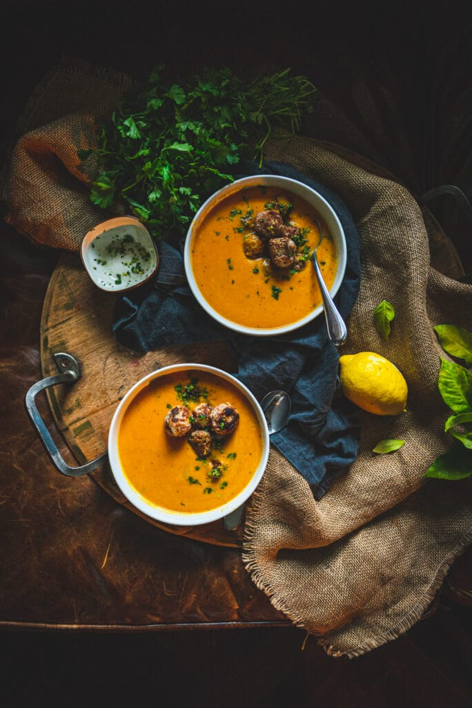 Creamy roasted carrot soup with ginger turkey meatballs - totally paleo and whole 30 approved