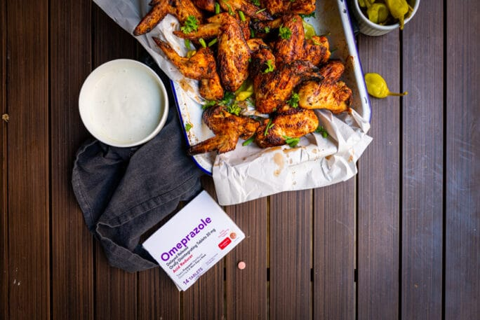 smoked chicken wings flat lay photo