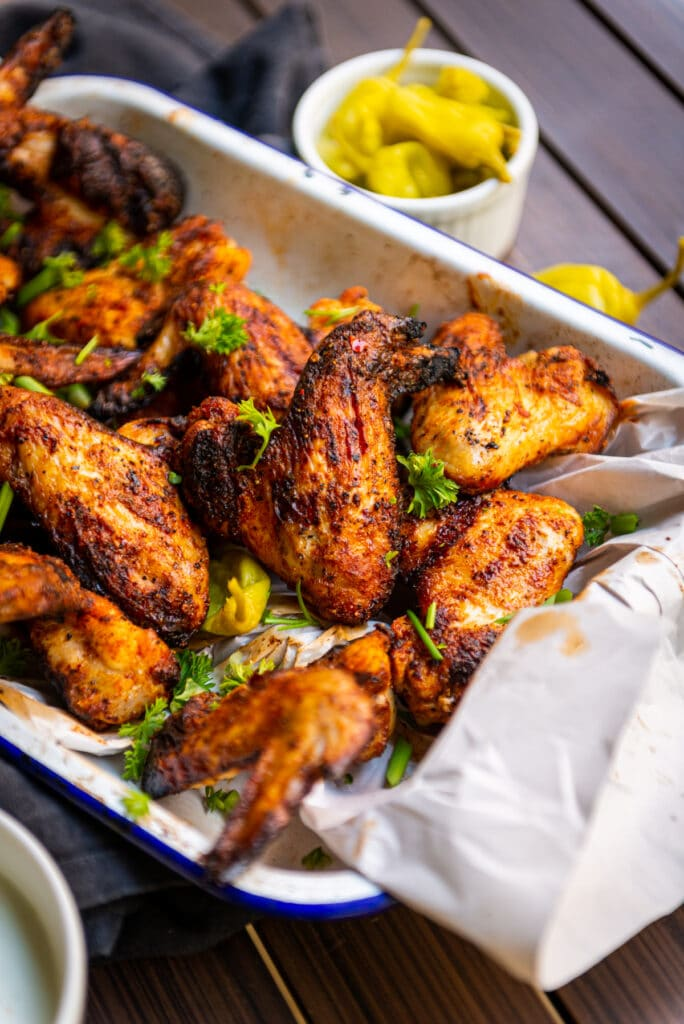 Spice rubbed smoked chicken wings are my favorite grilled chicken wing recipe ever!