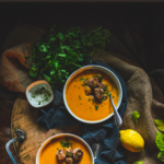 Recipe for homemade ginger turkey meatballs with creamy roasted carrot soup