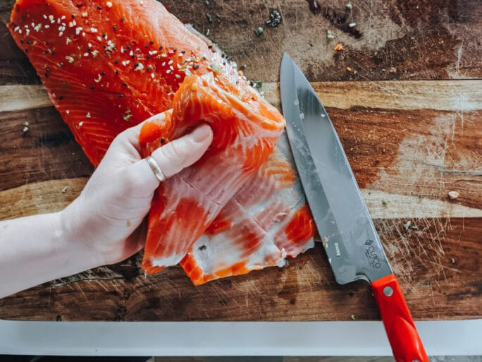 Removing skin from salmon filet