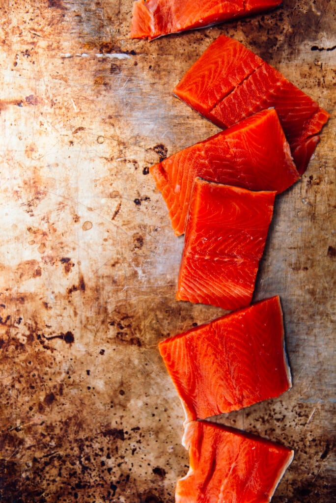 deep red sockeye salmon, portioned into filets
