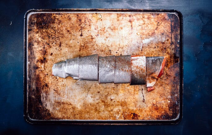 The silver skin side of the salmon filet, portioned but shown together on one board