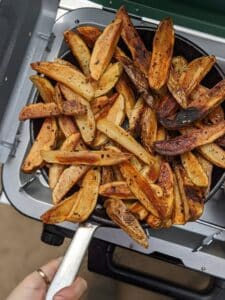 Cast Iron Fried French Fries piled up in a skillet