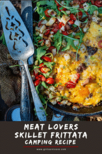 skillet meat lovers frittata with arugula salad on top