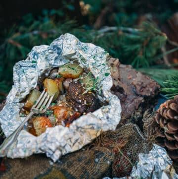 Garlic Steak and Potatoes Foil Camping packet
