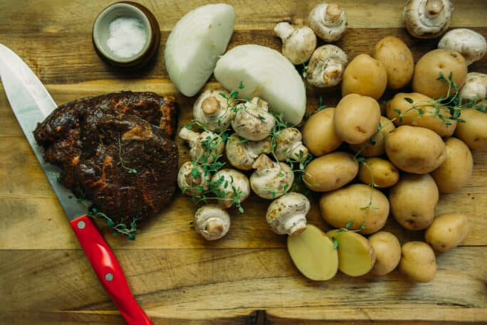 ingredients for steak and potato foil packets