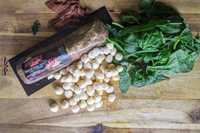 ingredients for pork and gnocchi skillet