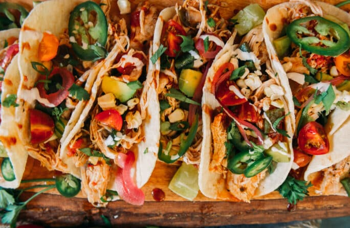 Plating of Instant Pot Chipotle Chicken Tacos