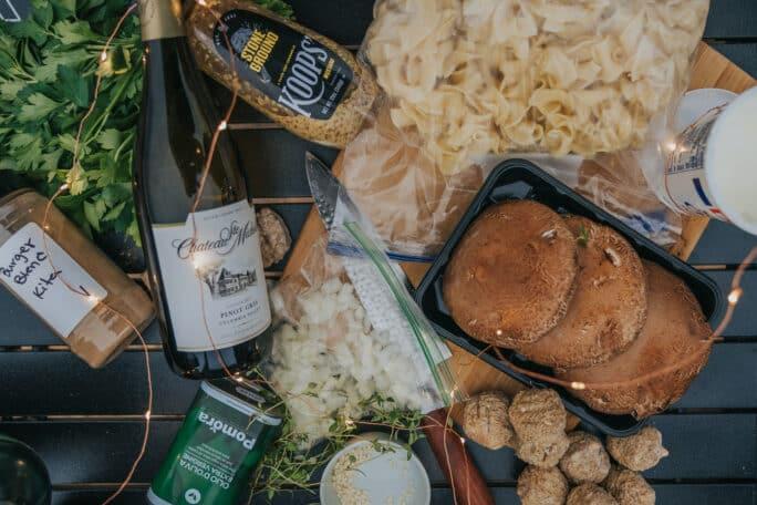 Ingredients for Beef Meatball Stroganoff