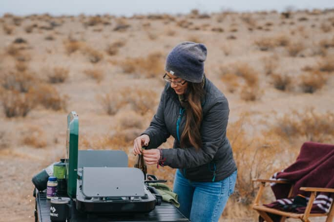 Kita Roberts Preparing Meatball Stroganoff in an Outdoor Camping Location
