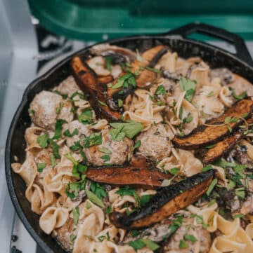 camping recipe for easy one pan meatball stroganoff on camp stove