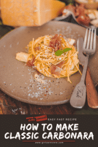 How to make pasta carbonara with prosciutto slivers and shaved cheese - PIN