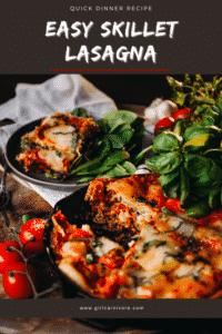 Quick Dinner - One Skillet Lasagna Recipe Pin