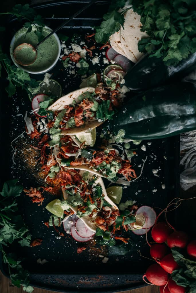 Roasting poblanos Peppers to make Poblano crema for Carnitas