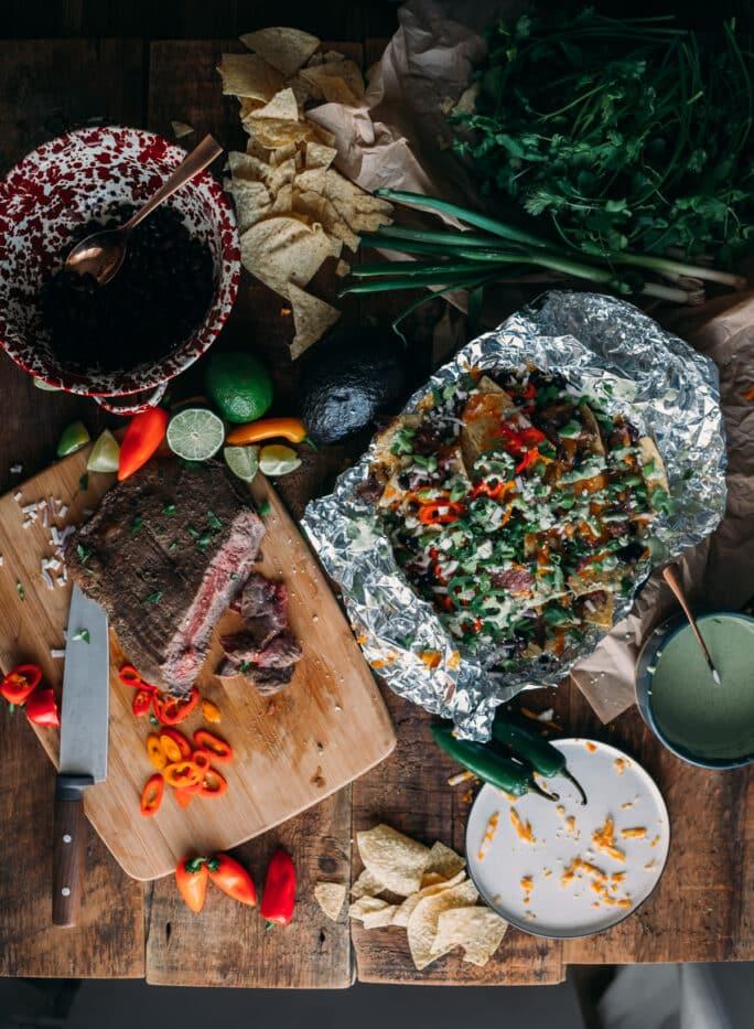 Easy and Yummy Campfire Nachos Recipe with Carne Asada