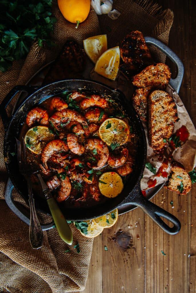 Freshly cooked Jumbo Gulf Shrimps (New Orleans BBQ Shrimp recipe)