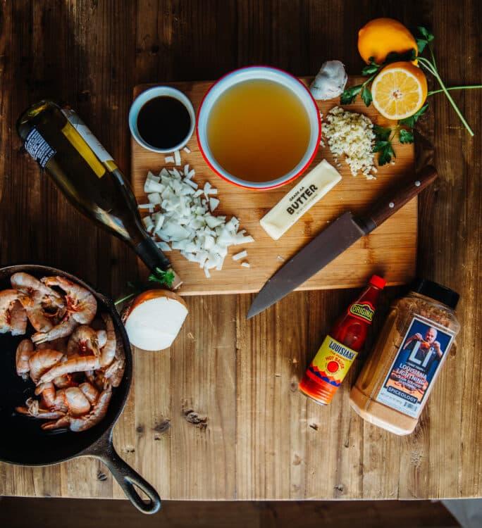 Ingredients tp cook New Orleans BBQ Shrimp
